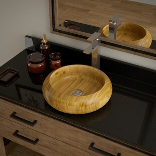 Price Check Bamboo Circular Vessel Bathroom Sink with Faucet ByMR Direct