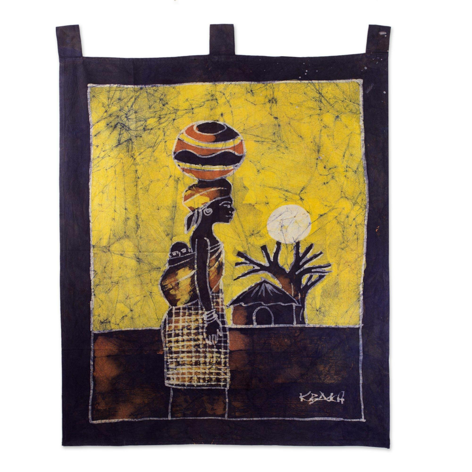 Novica Woman from the Lakeside Hand Crafted Batik Cotton Wall ...