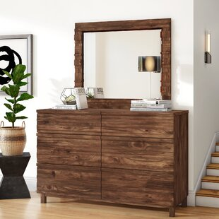 Dixson 6 Drawer Double Dresser with Mirror by Mercury Row