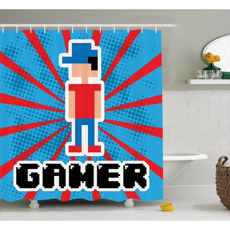 Video Games Red Blue Stripes Shower Curtain