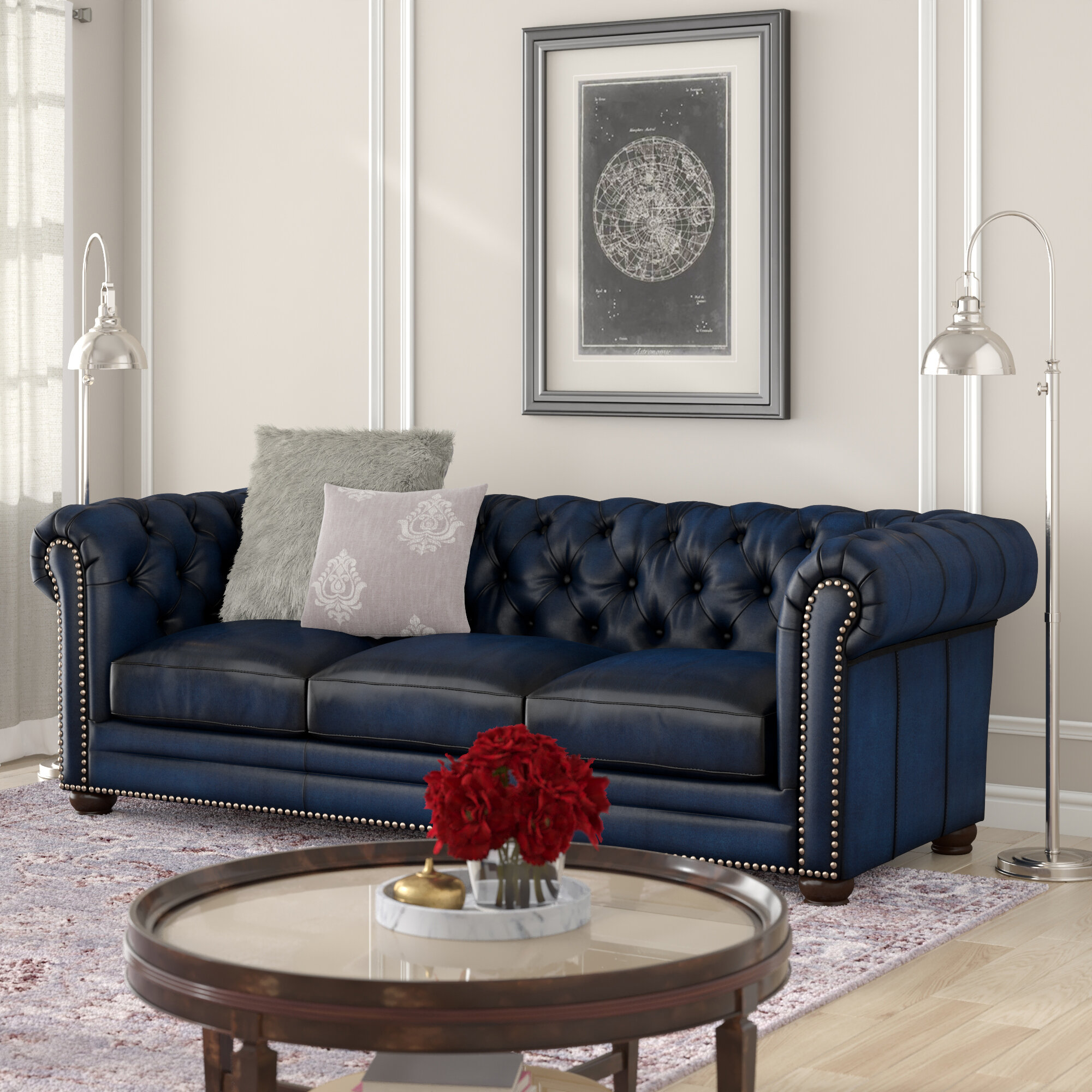 Canora Grey Kraig Genuine Leather 92 Wide Rolled Arm Chesterfield Sofa Reviews Wayfair