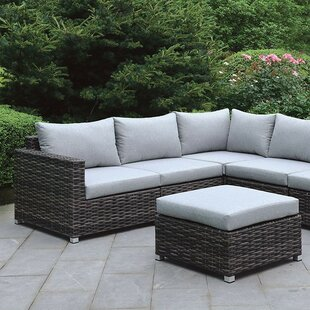 Gracie Oaks Mckenzie 3 Piece Rattan Sectional Seating Group with Cushions