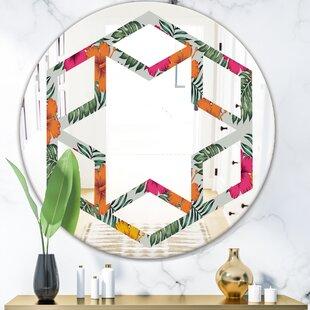Hexagon Star Tropical Leaves III Coastal Frameless Wall Mirror