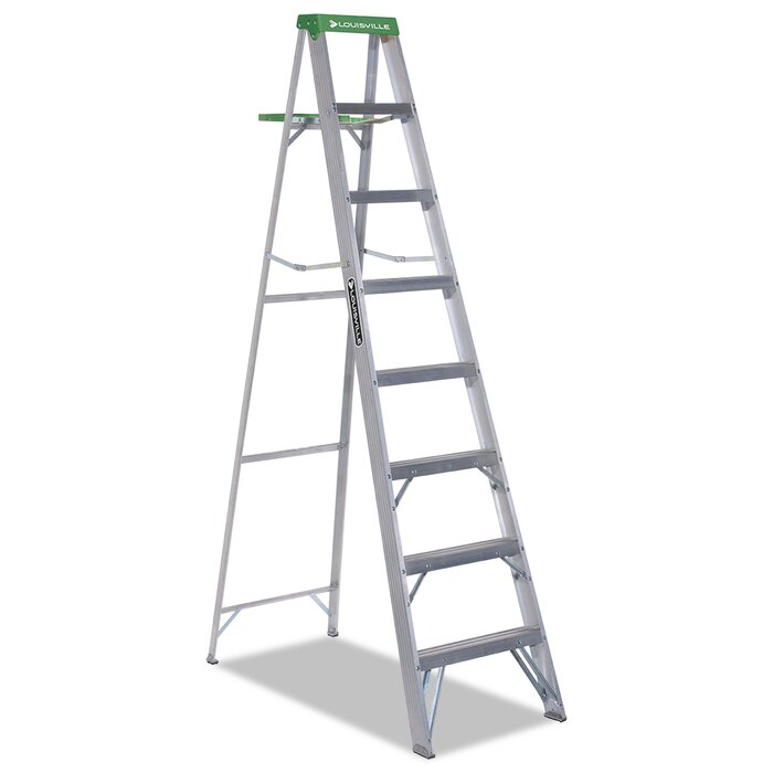 Amazing 8 Ft Aluminum Louisville Folding Step Ladder With 225 Lb Load Capacity Pabps2019 Chair Design Images Pabps2019Com