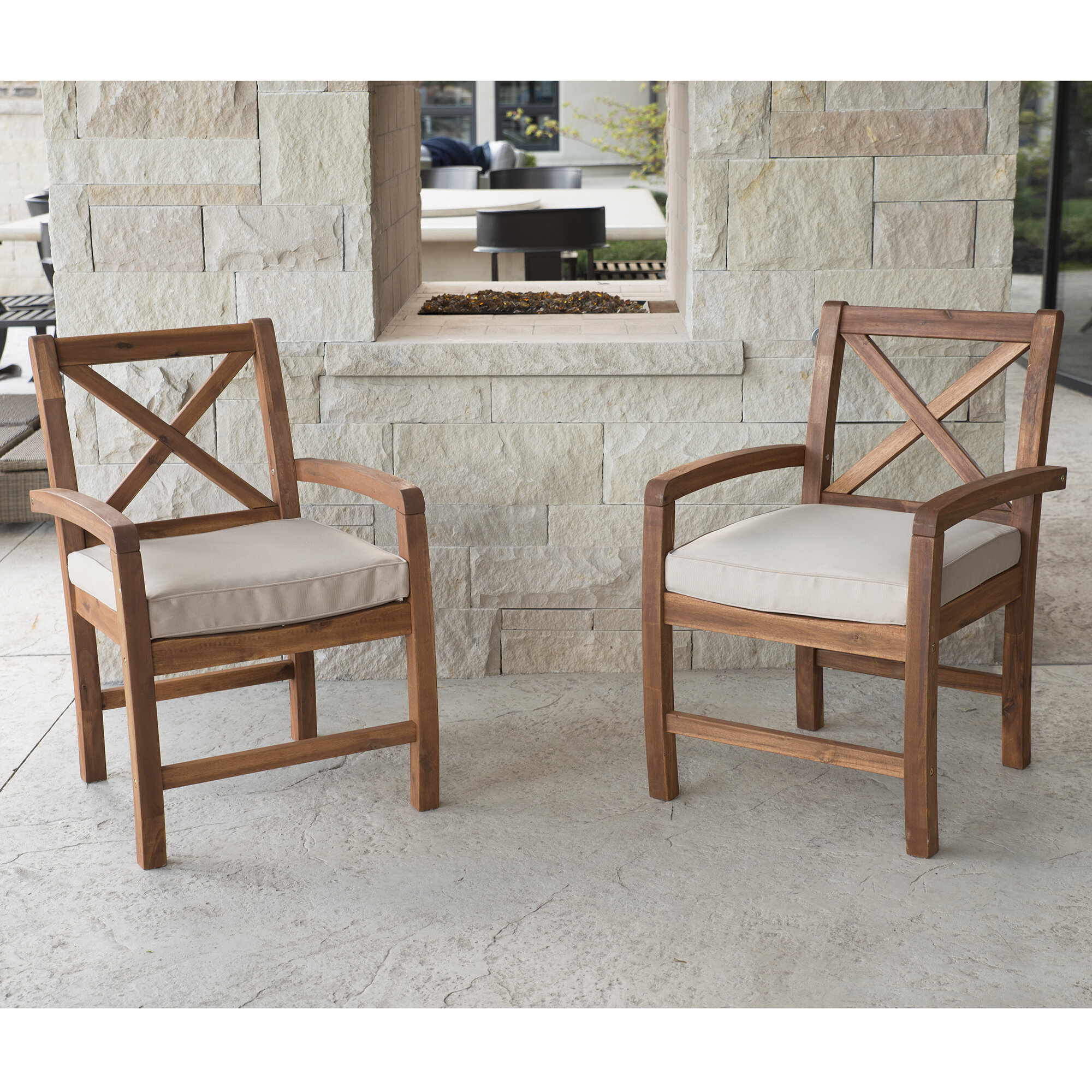 Tim X Back Acacia Patio Chairs With