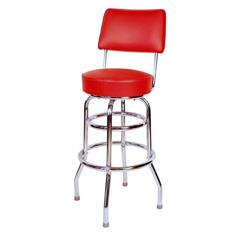 "Red Retro Home 30"" Swivel Bar Stool (Part Number: 0 1958 Brn) by Richardson Seating"