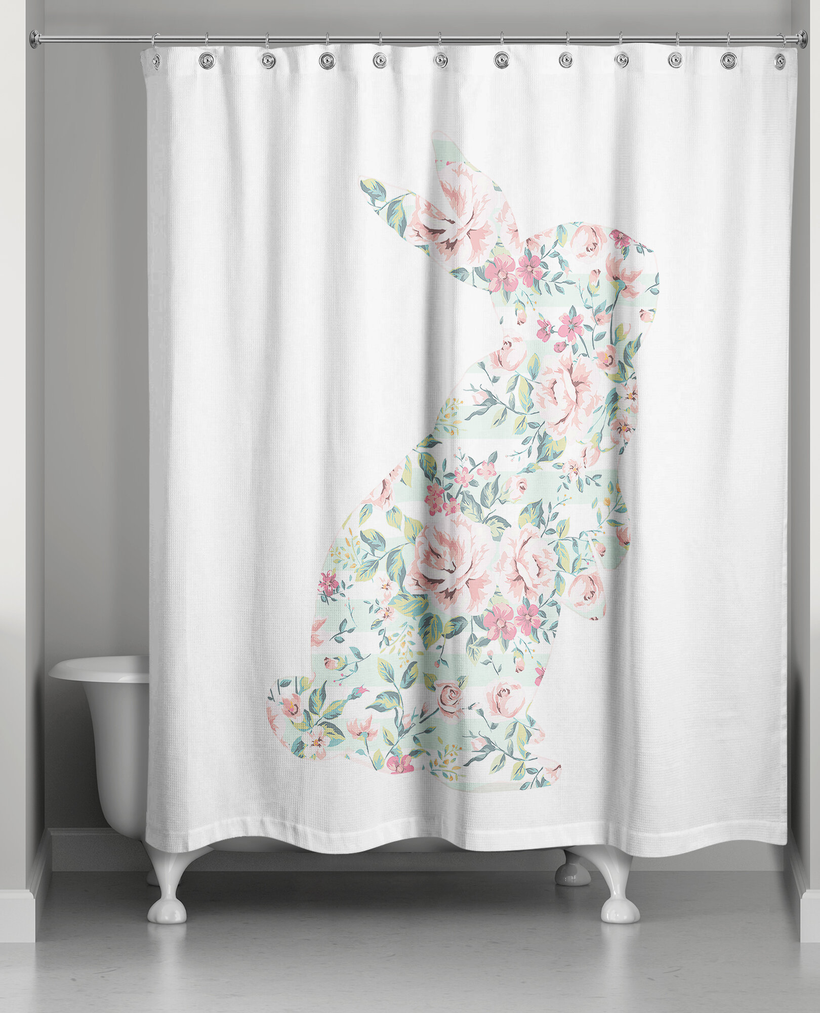 August Grove Critchfield Floral Curious Rabbit Shower Curtain