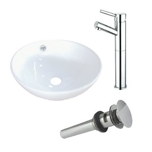 Find the perfect Ceramic Circular Vessel Bathroom Sink with Faucet and Overflow By Kingston Brass