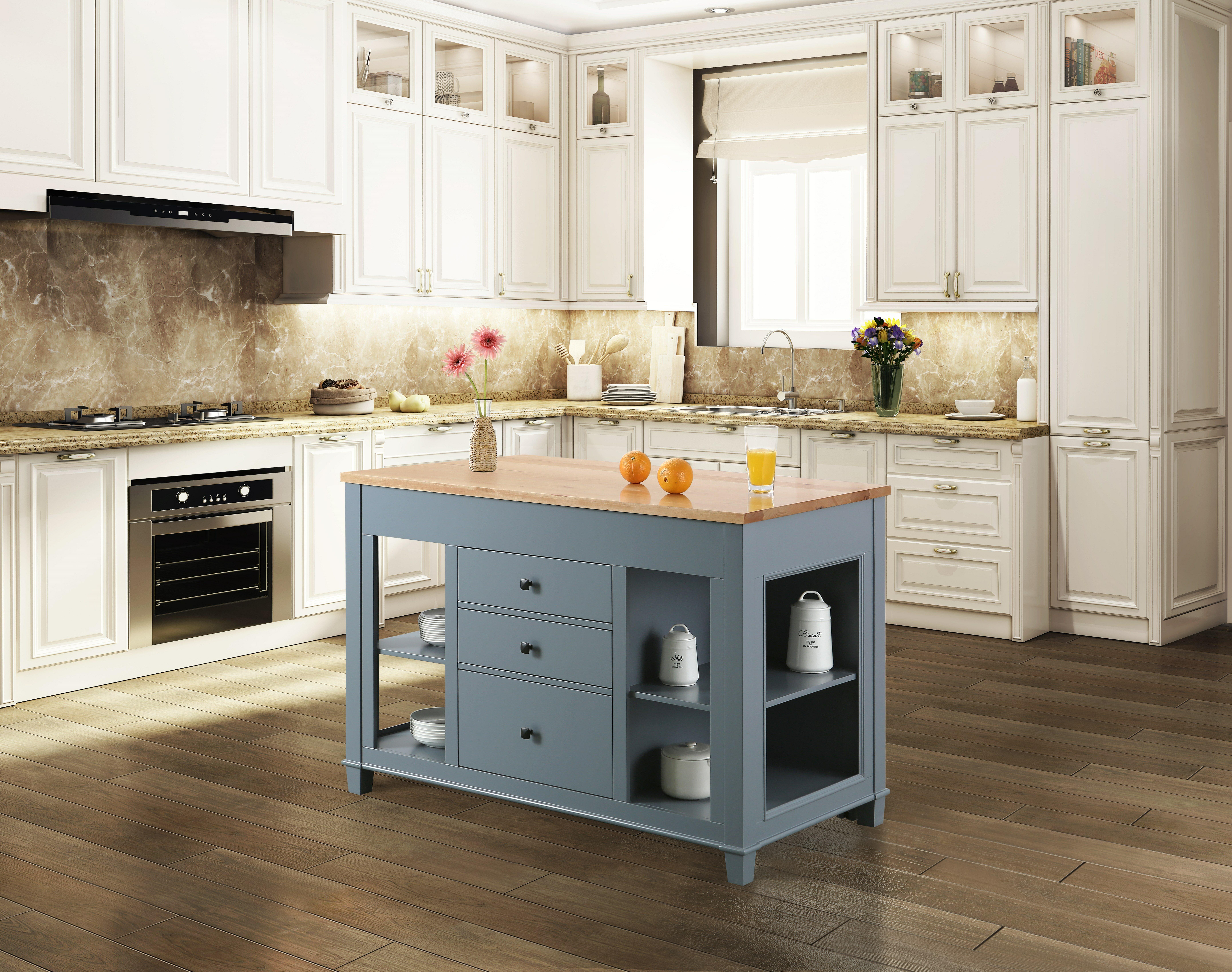 Casen Solid Wood Kitchen Island