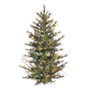 wall 4 green pine artificial hanging christmas tree with 150 clear lights with branches