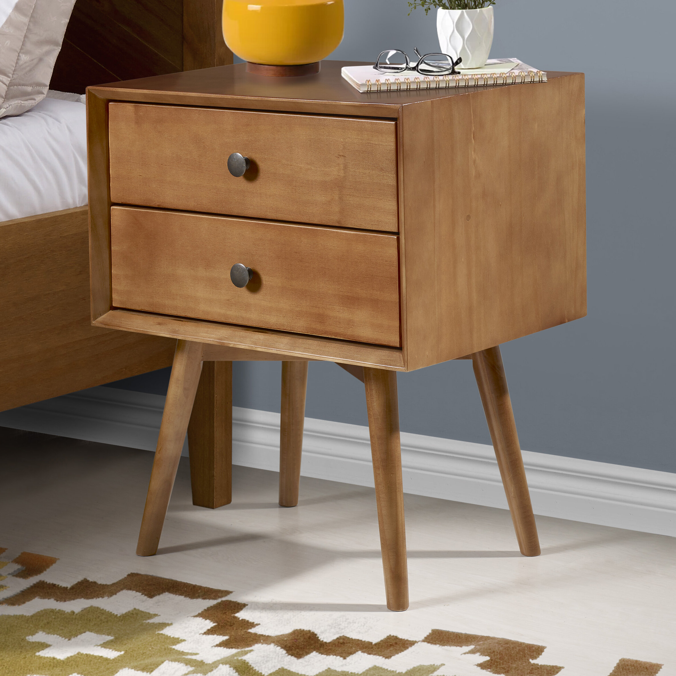 Image of: George Oliver Gertz Mid Century 2 Drawer Nightstand Reviews Wayfair