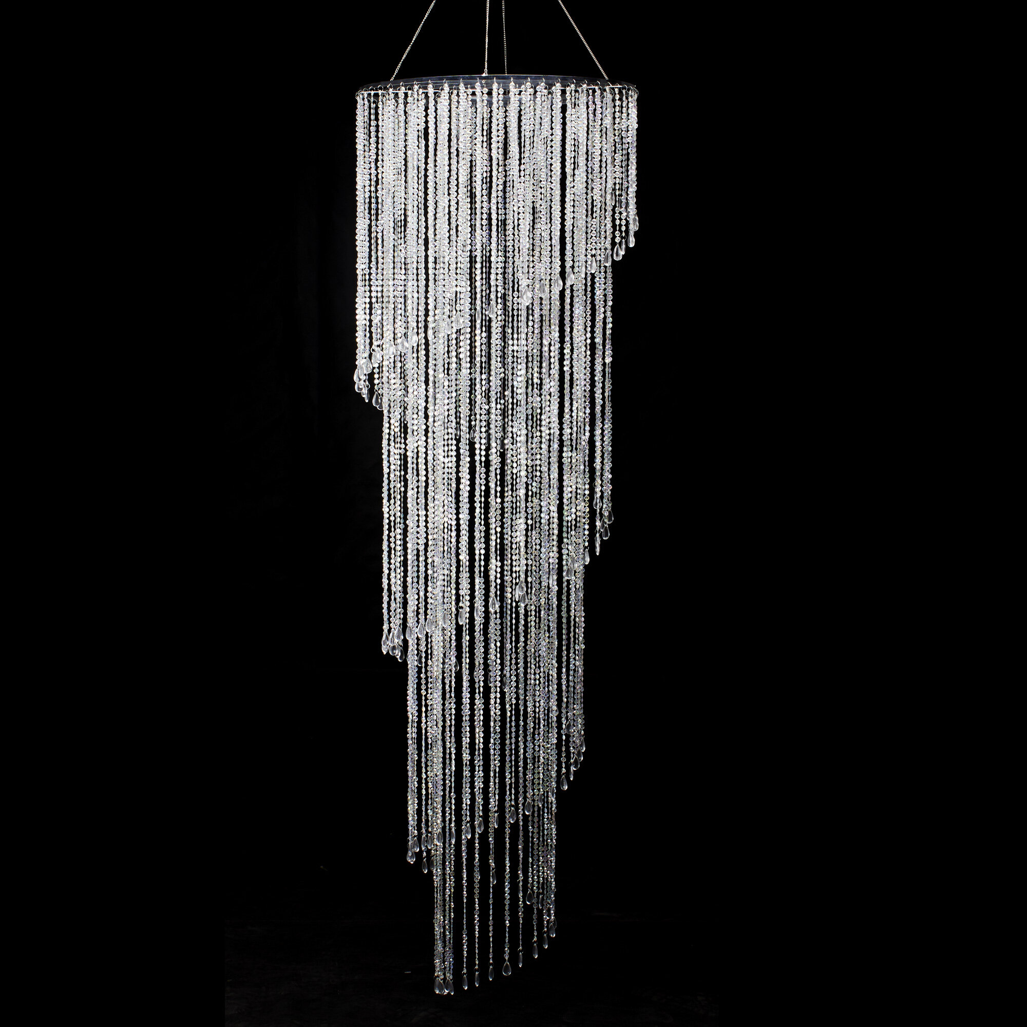 25mm x 28mm Bright Silver 2 Loop Chandelier Hoop #FIB095
