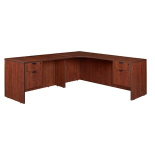 Linh Double Pedestal Credenza Left L-Shape Wood Corner Desk