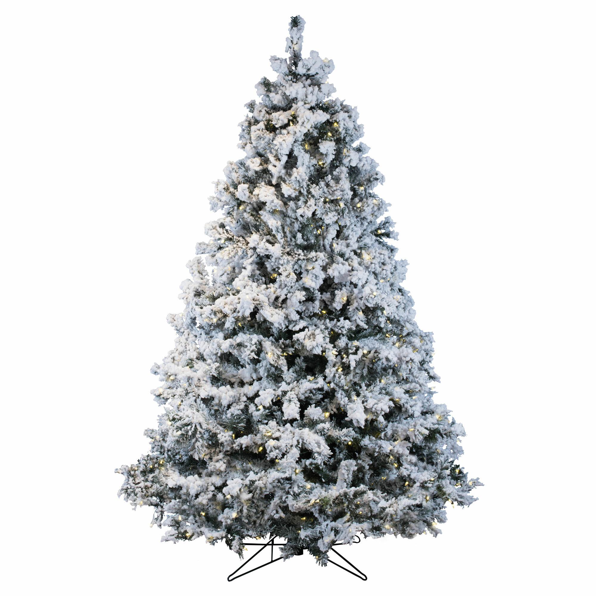 9 Artificial Christmas Tree.Flocked Alaskan 9 White Artificial Christmas Tree With 1200 Dura Lit Clear Lights With Stand
