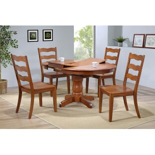 Chretien Transitional 5 Piece Solid Wood Dining Set August Grove