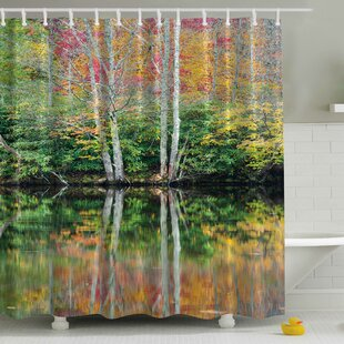 Faliage Reflection on a Lake Print Single Shower Curtain