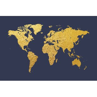 Gold world map canvas art youll love wayfair world map series gold foil on denim graphic art on wrapped canvas gumiabroncs Gallery