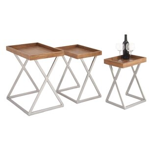 Urban Designs Rustic Tray 3 Piece Nesting Tables