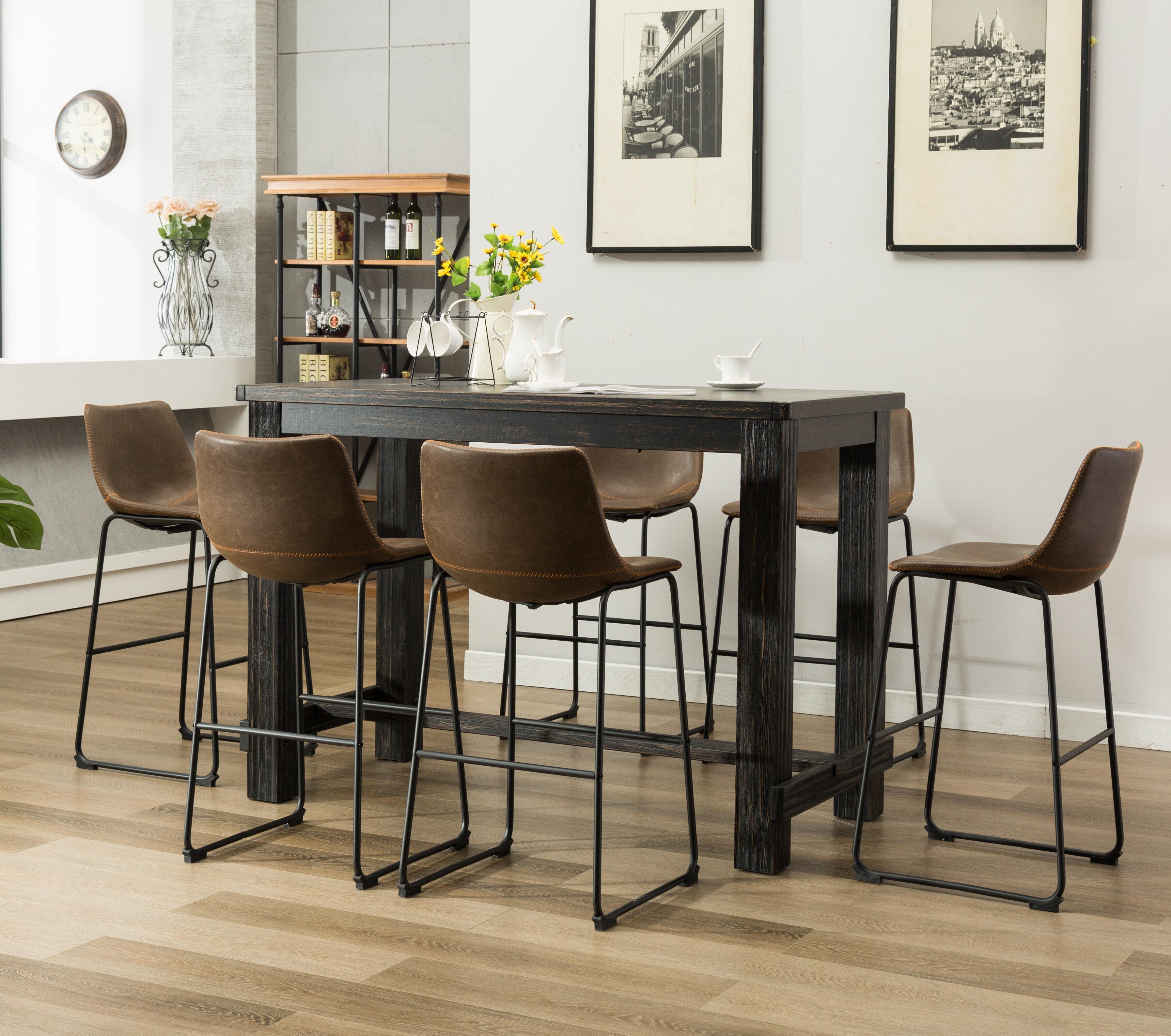7 Piece Bar Height Rubberwood Solid Wood Dining Set Reviews Joss Main