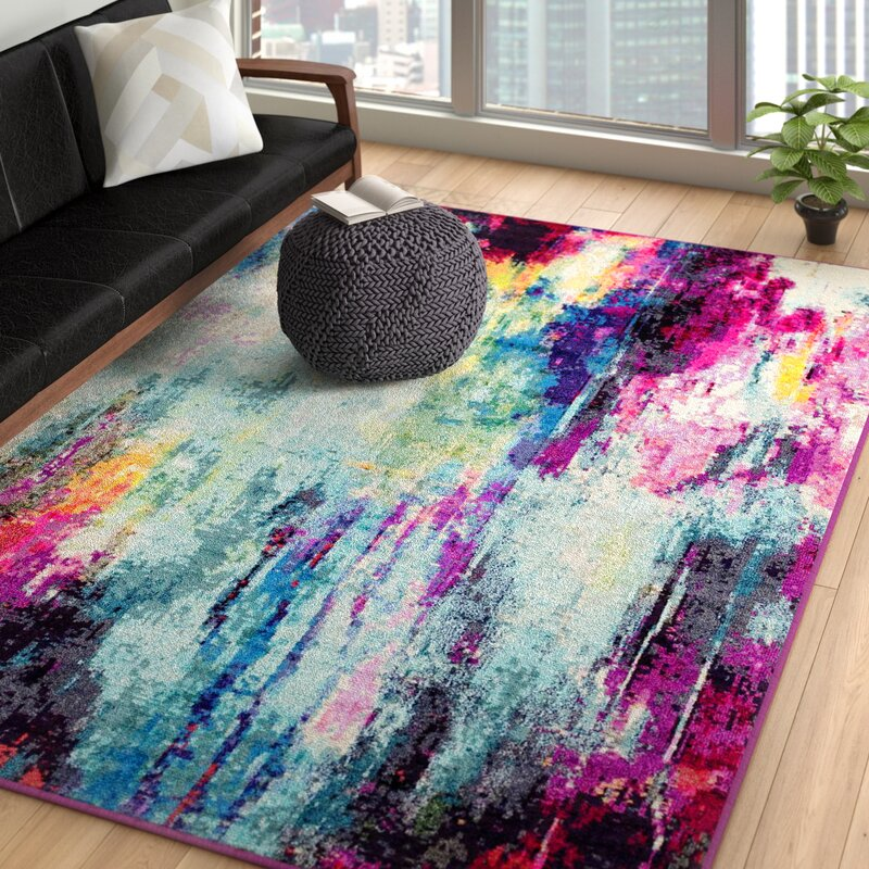 17 Stories Woonsocket Abstract Blue Area Rug Reviews Wayfair