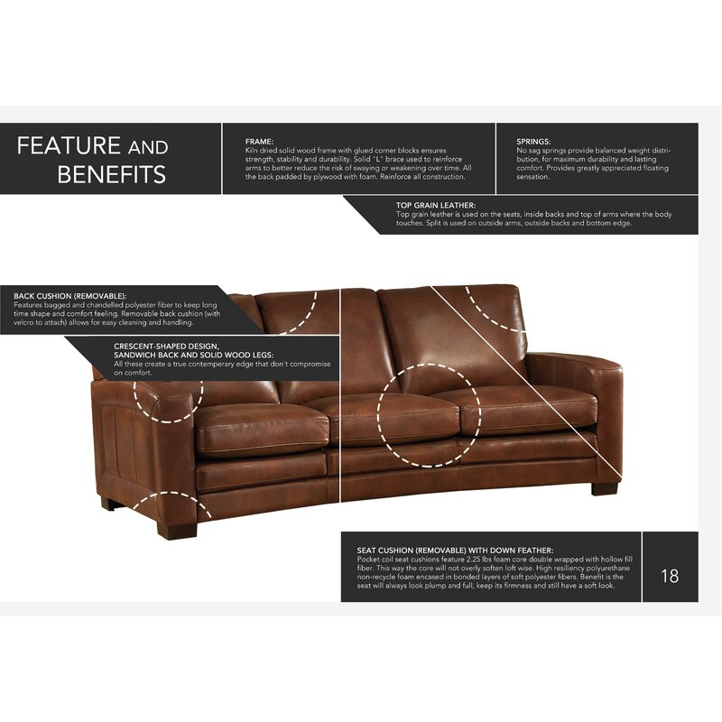 Hadnot Craft Leather Sofa