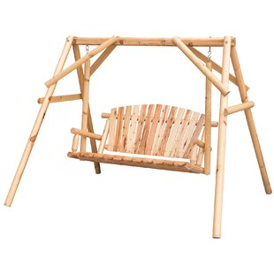 Keira Wooden A-Frame Outdoor Porch Swing with Stand by Loon Peak