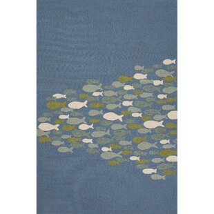 Ismene Hand-Hooked Blue Indoor/Outdoor Area Rug