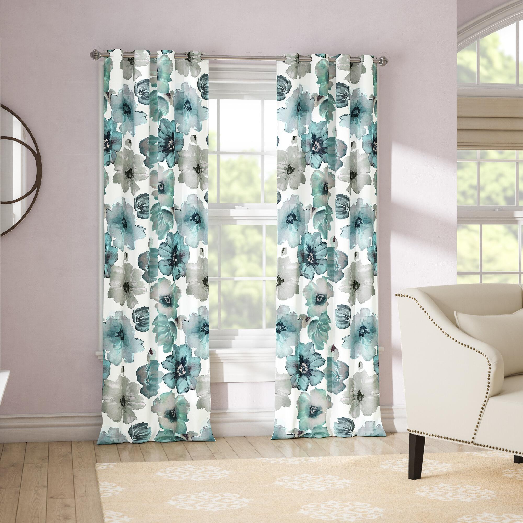 August Grove Sikora Floral Room Darkening Thermal Grommet Curtain Panels Reviews Wayfair