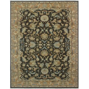 Find for One-of-a-Kind Aarav Sun-Faded Hand-Knotted Wool Brown/Charcoal Area Rug By Isabelline
