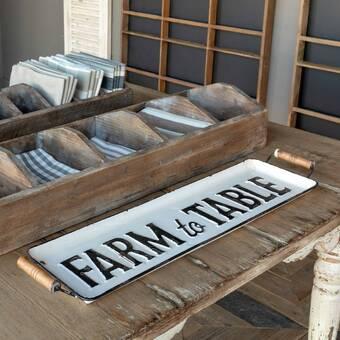 Gracie Oaks West Brookfield Weathered Wood 2 Piece Coffee Table Tray Set Wayfair