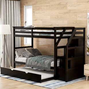 Rasberry Twin over Full Bunk Bed with Trundle and 3 Drawers