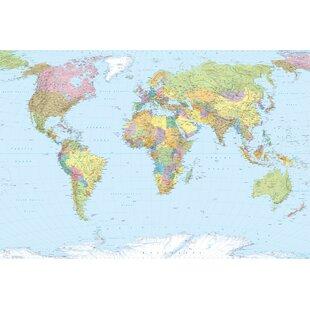 World map wallpaper wayfair world map 25m x 368cm wallpaper roll by komar gumiabroncs Gallery