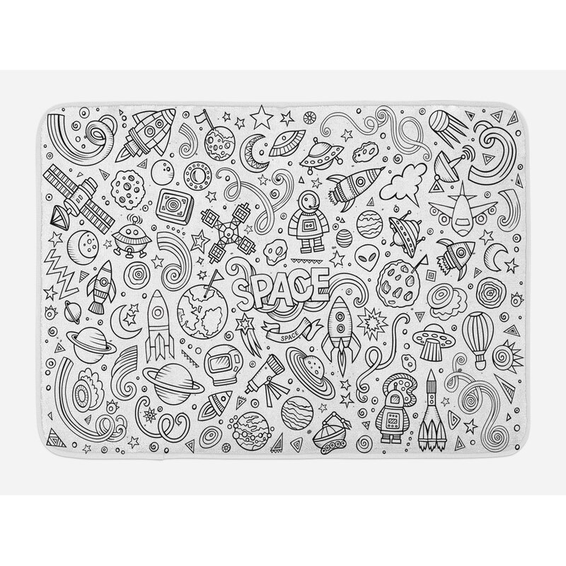 Ambesonne Boy S Bath Mat By Astro Sketch Abstract Planets In Doodle Drawing Style Children S Cartoon Composition Plush Bathroom Decor Mat With Non