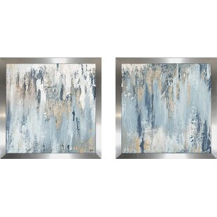 Blue Illusion Square by Patricia Pinto - 2 Piece Wrapped Canvas Print Set