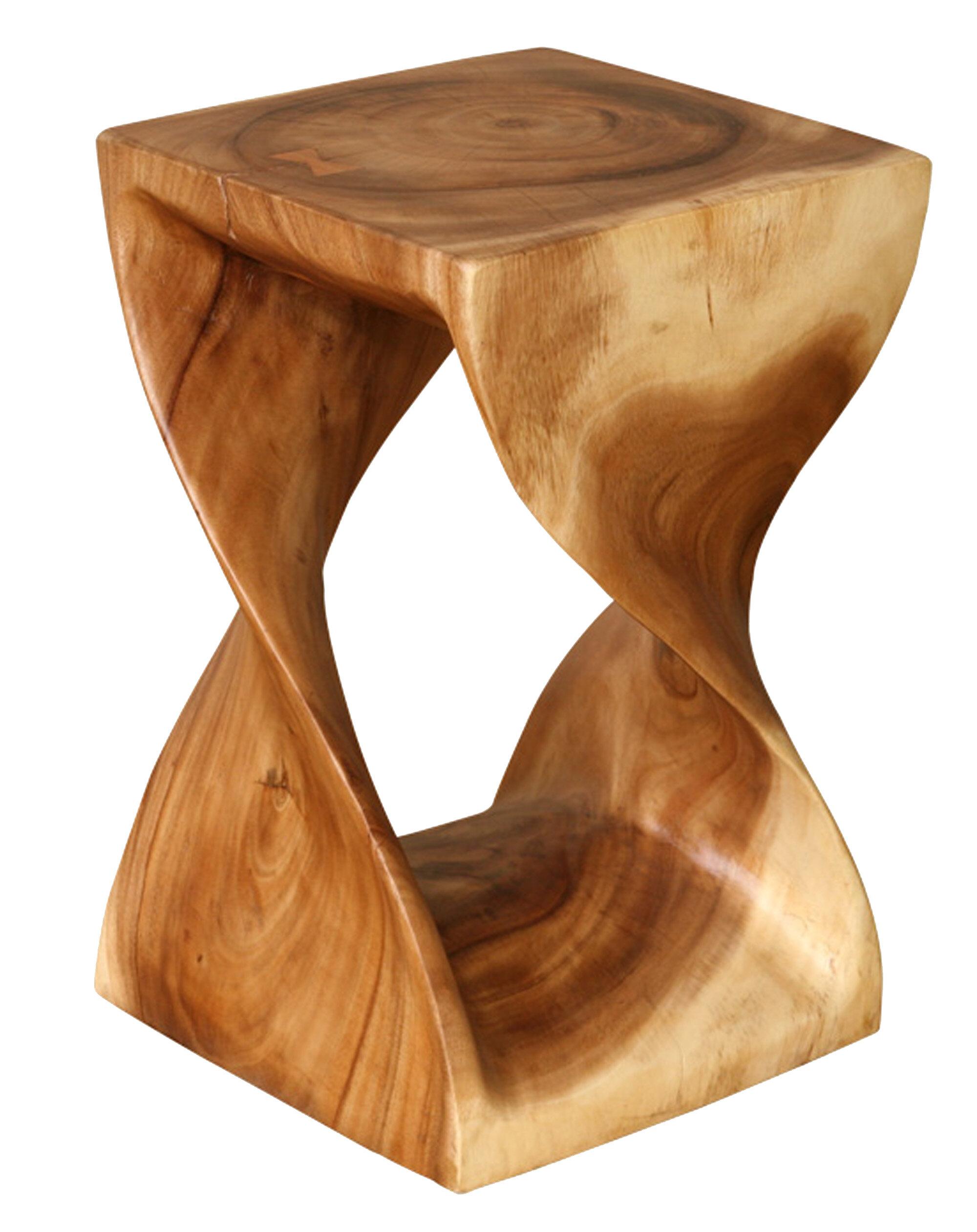 Asian Art Imports Natural Wood Twist Stool & Reviews   Wayfair