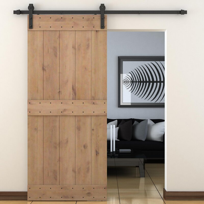 Bent Strap Sliding Door Track Hardware and Vertical Slat Primed Sliding Knotty Solid Wood Panelled Alder & Calhome Bent Strap Sliding Door Track Hardware and Vertical Slat ...