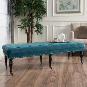 Cline Velvet Upholstered Bench with Caster