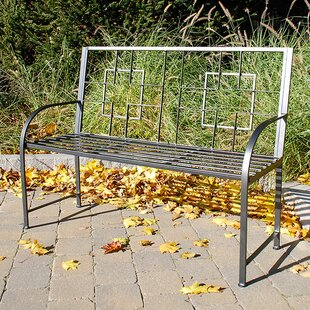 Square-on-Squares Entryway Wrought Iron Garden Bench by ACHLA