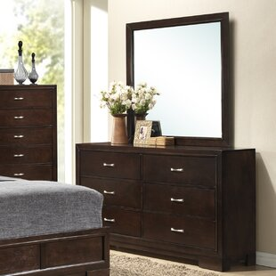 Peasely 6 Drawer Double Dresser with Mirror