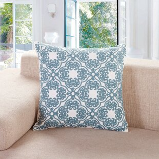 Mabe Embroidered Lattice Cotton Throw Pillow