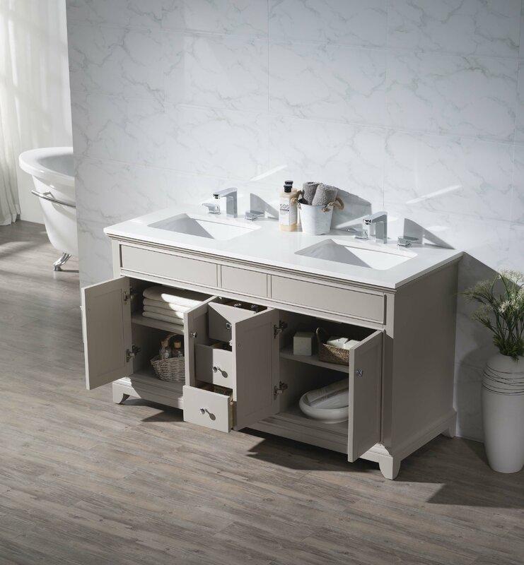 "Bathroom Vanities Quincy Ma dcor design leola 59"" double bathroom vanity set & reviews | wayfair"