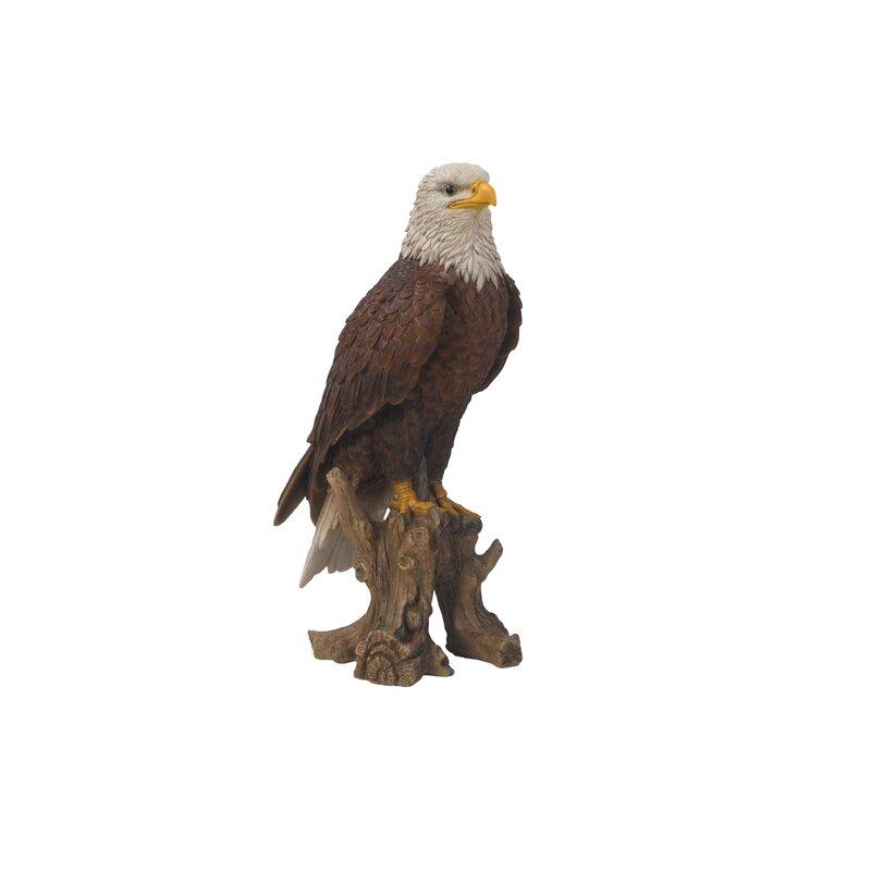 "Large 21/""H American Bald Eagle Perching On Tree Stump Statue Wild Life Decor"