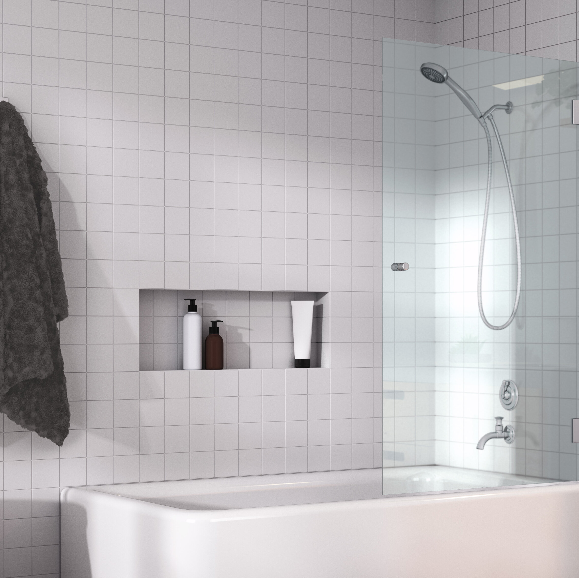 Glass Warehouse 31 75 W X 58 H Hinged Frameless Tub Door Reviews Wayfair