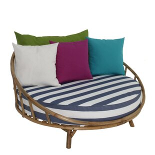 Bayou Breeze Olu Bamboo Large Round Patio Daybed with Cushions