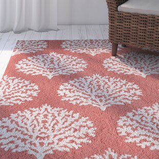 Cline Hand-Looped Coral Indoor/Outdoor Area Rug By Highland Dunes