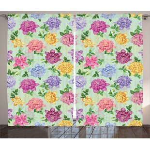 Floret Decor Nature / Floral Room Darkening Rod Pocket Curtain Panels (Set of 2) by East Urban Home