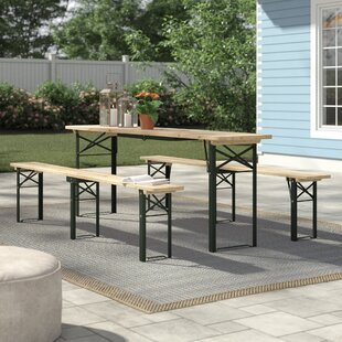 Schaefer Outdoor Folding Wooden Picnic Table with benches