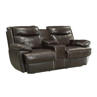 Hughes Leather Reclining Loveseat Red Barrel Studio