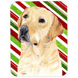 Labrador Candy Cane Holiday Christmas Glass Cutting Board By Caroline's Treasures