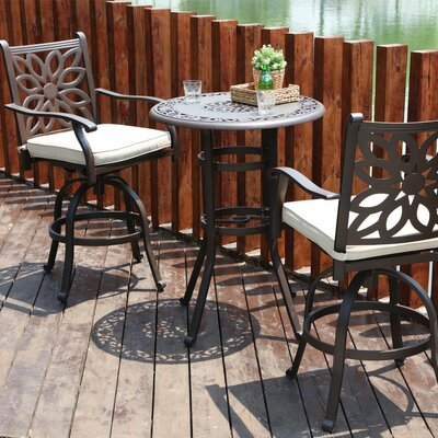 Longo Cast Aluminum 3 Piece Bistro Set With Cushions by House of Hampton Sale